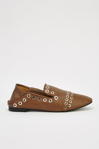 KYLIE studded slipon brown - SUITE 23