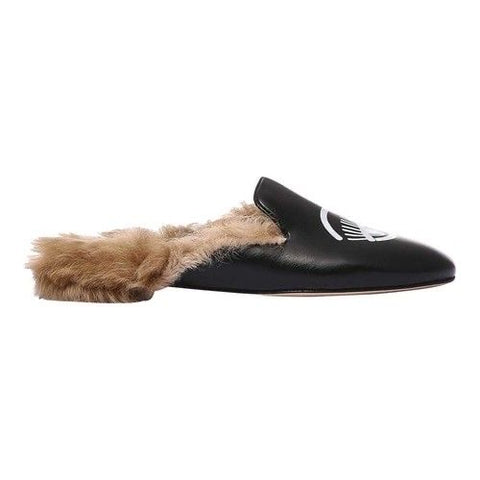 Chiara Ferragni Women Black Fur Mules - SUITE 23