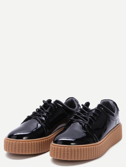 CHIARA black glossy sneakers - SUITE 23