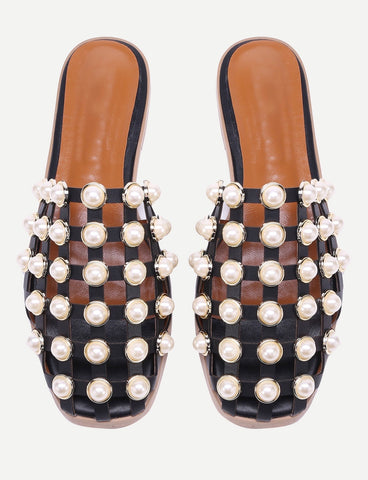 Black sliders with pearls - SUITE 23