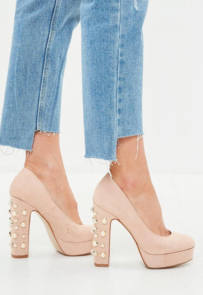 CINDY pink platform pumps with pearls - SUITE 23