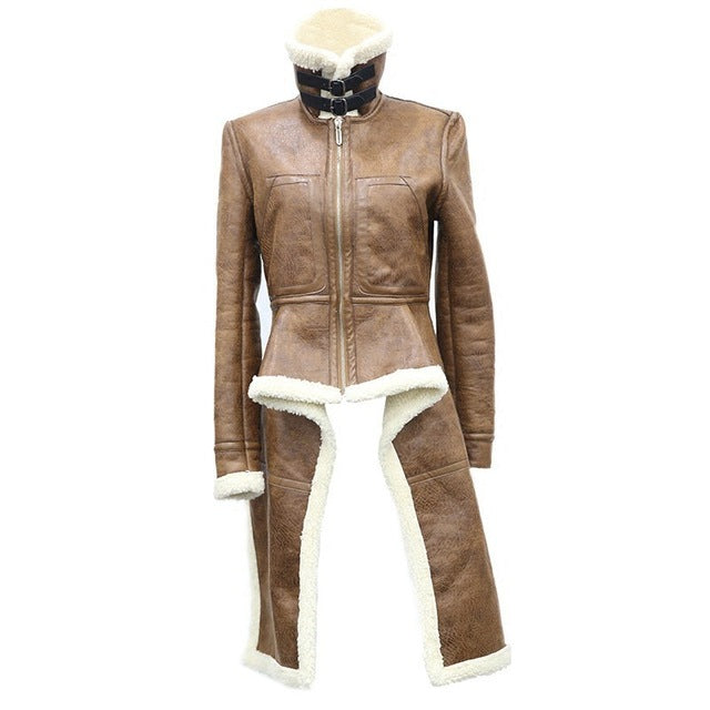 AMY IRREGULAR LEATHER JACKET WITH FUR - SUITE 23