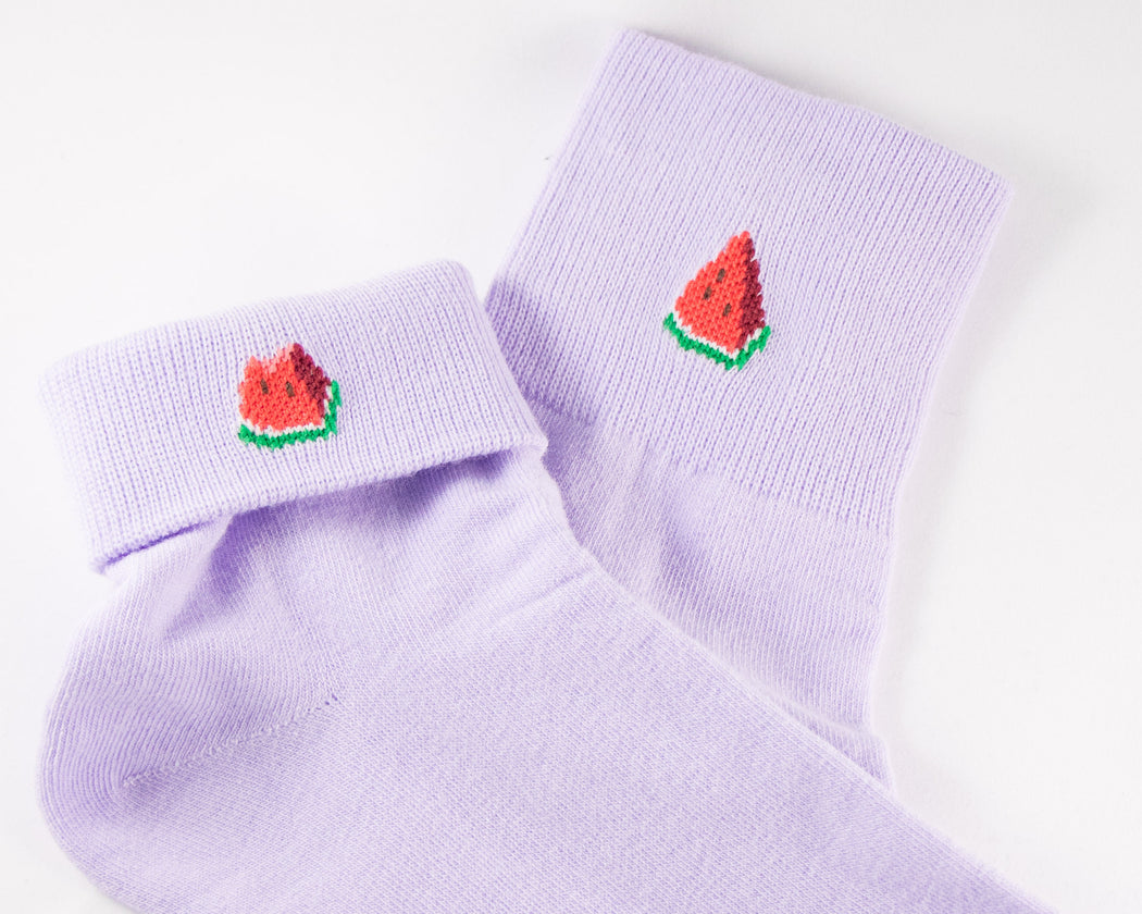 Watermelon Foldover Crew Socks