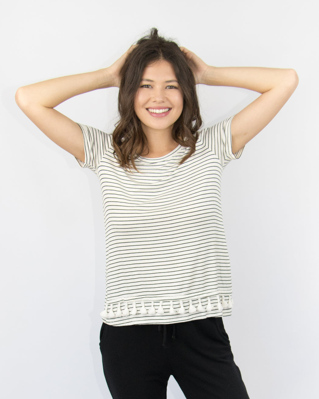 Rachel Striped Tee with Tassel Trim