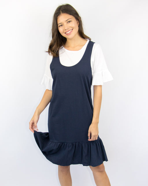 Layered Tee Dress With Flutter Sleeve