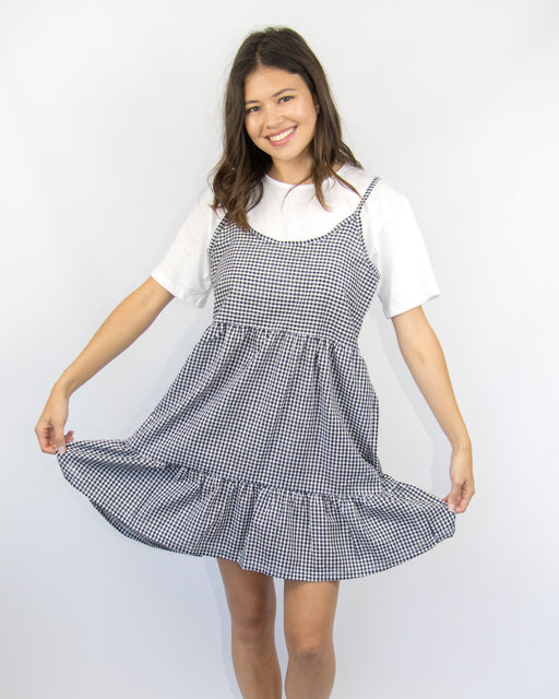 Gingham Tiered Layer Tee Dress