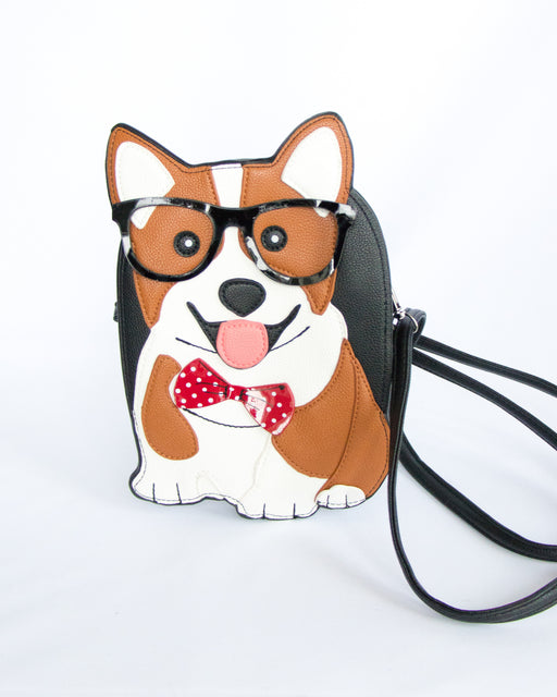 Well-Read Corgi Convertible Crossbody Clutch