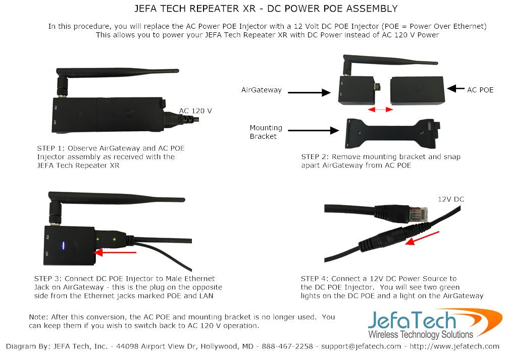 dc power kit for jefa tech repeater xr and xr plus