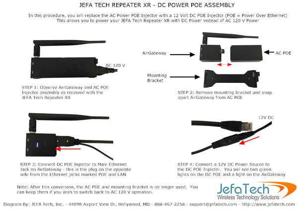 DC Power Kit for JEFA Tech Repeater XR and XR PLUS - Wifi Repeater