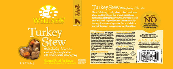 Wellness Natural Turkey Stew with Barley and Carrots Wet Canned Dog Food