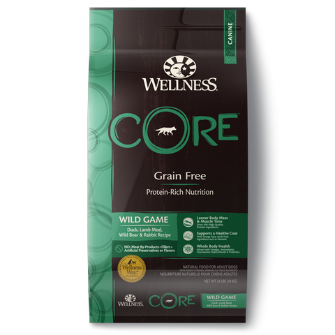 Wellness CORE Grain Free Natural Wild Game Duck, Turkey, Wild Boar and Rabbit Recipe Dry Dog Food