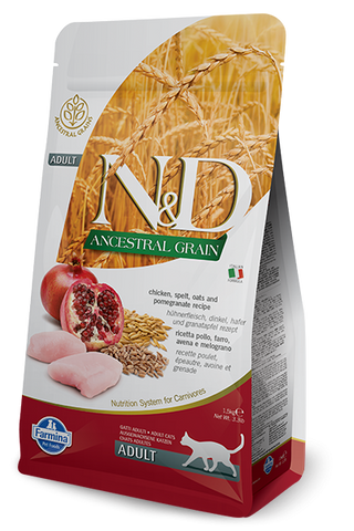 Farmina N&D Natural & Delicious Low Grain Adult Chicken & Pomegranate Dry Cat Food