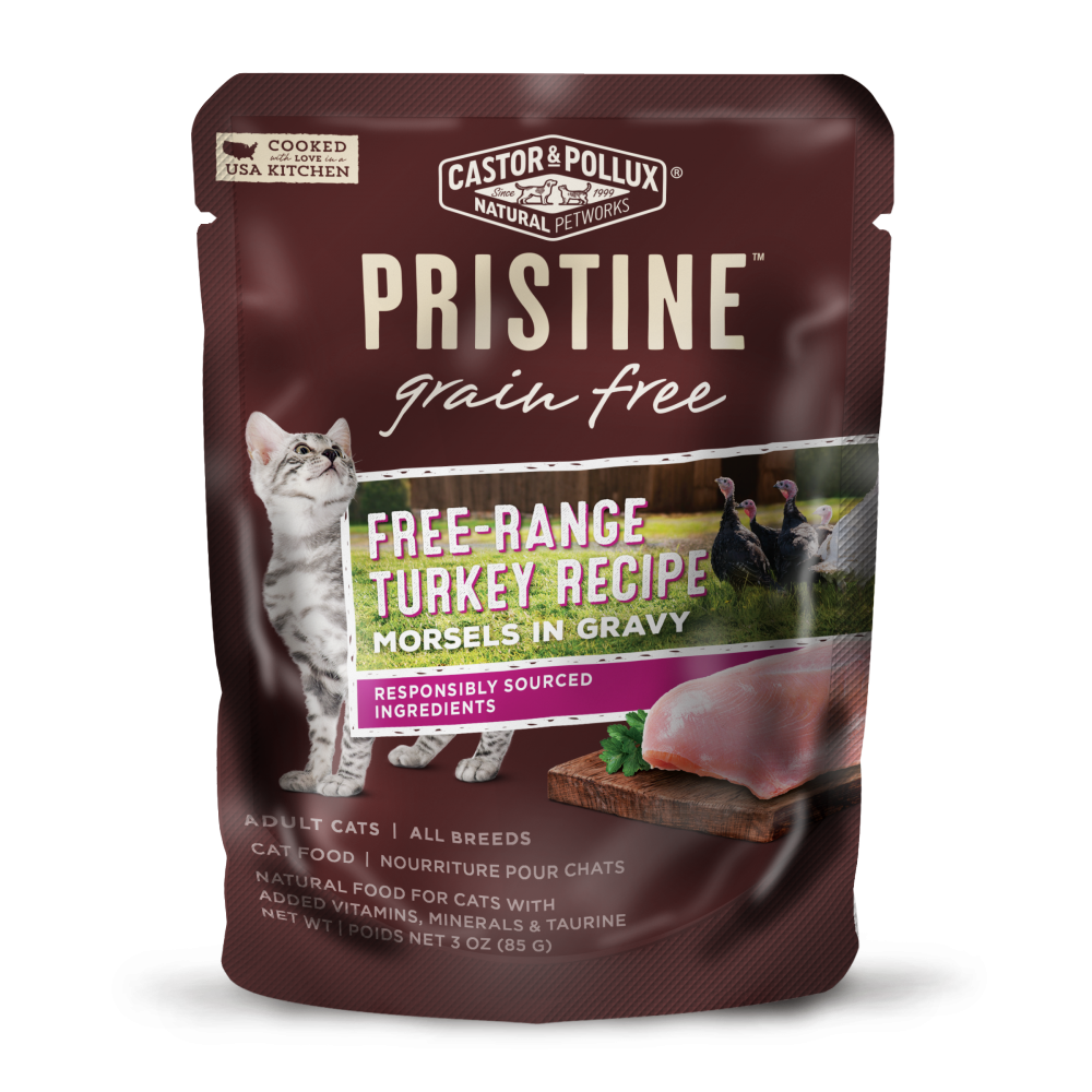 Castor and Pollux Pristine Grain-Free Free-Range Turkey Morsels in Gravy Wet Cat Food Pouches