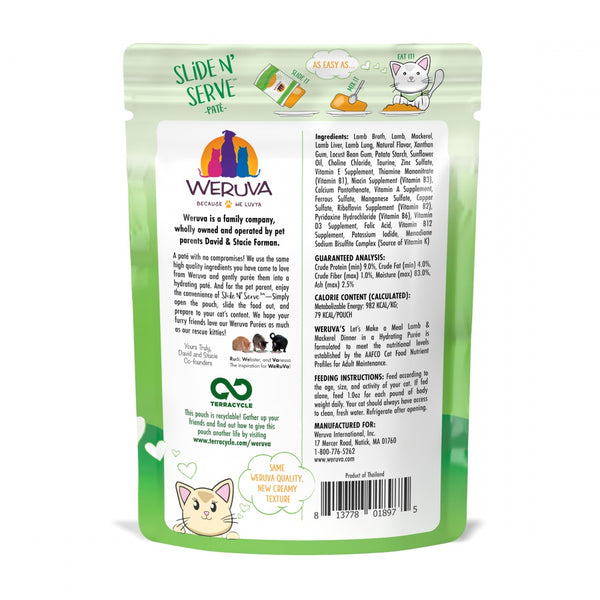 Weruva Slide N' Serve Grain Free Let's Make a Meal Lamb & Mackerel Dinner Wet Cat Food Pouch