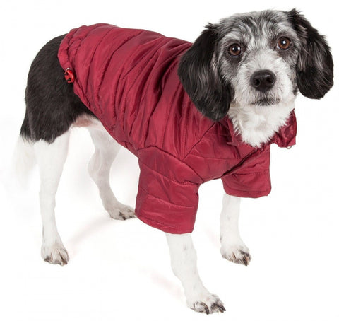 Pet Life Adjustable Burgundy Red Sporty Avalanche Dog Coat with Pop Out Zippered Hood
