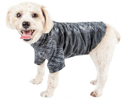 Pet Life Active Warf Speed Sporty Performance Dog T-Shirt in Heather Black