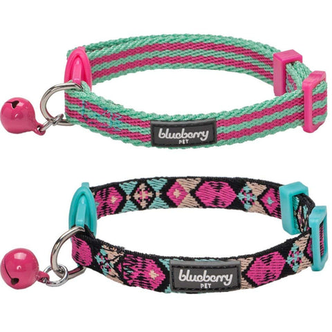 Blueberry Pet Pack of 2 Cat Collars Geometric Design Adjustable Breakaway Cat Collar with Bell