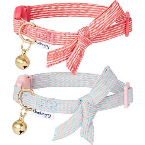 Blueberry Pet Glam Cutie Diagonal Striped Adjustable Breakaway Cat Collar with Bowtie and Bell 2 Pack