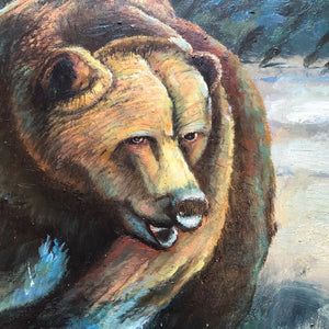 20th Century Original Bear Oil Painting