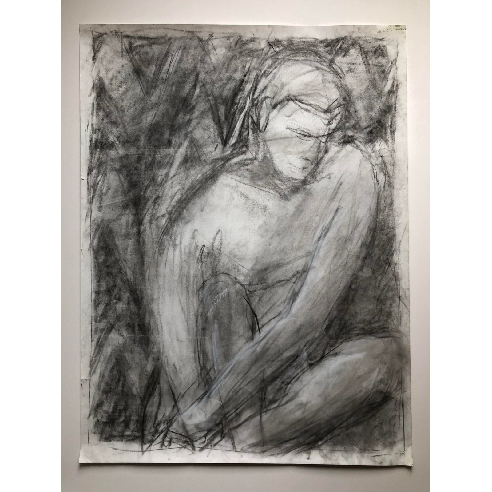 Contemporary Male Figure Charcoal Drawing on Paper