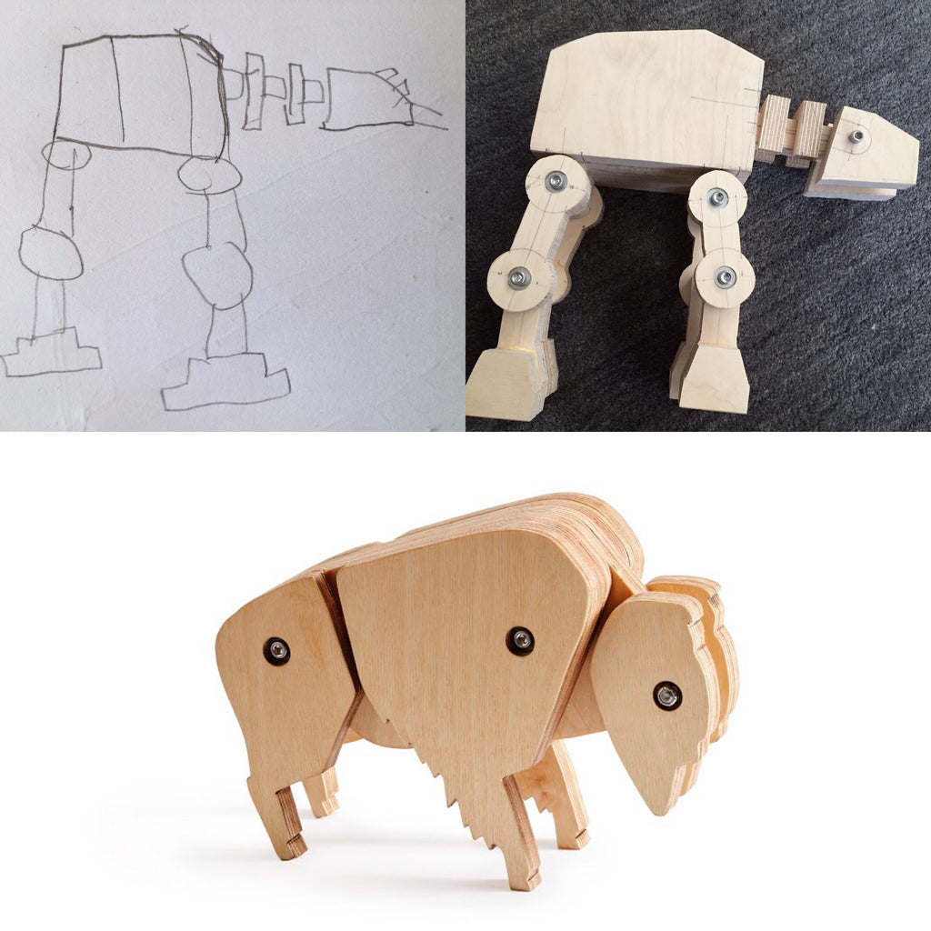 kid drawing of AT-AT, Toy AT-AT, and wooden bison toy