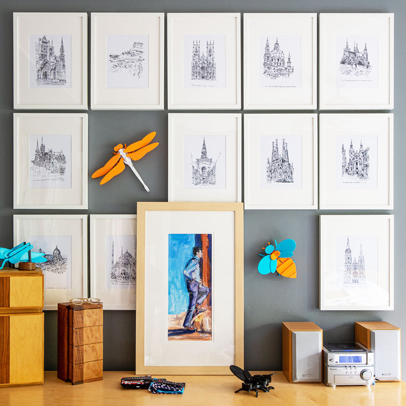 artful toys and architectural sketches
