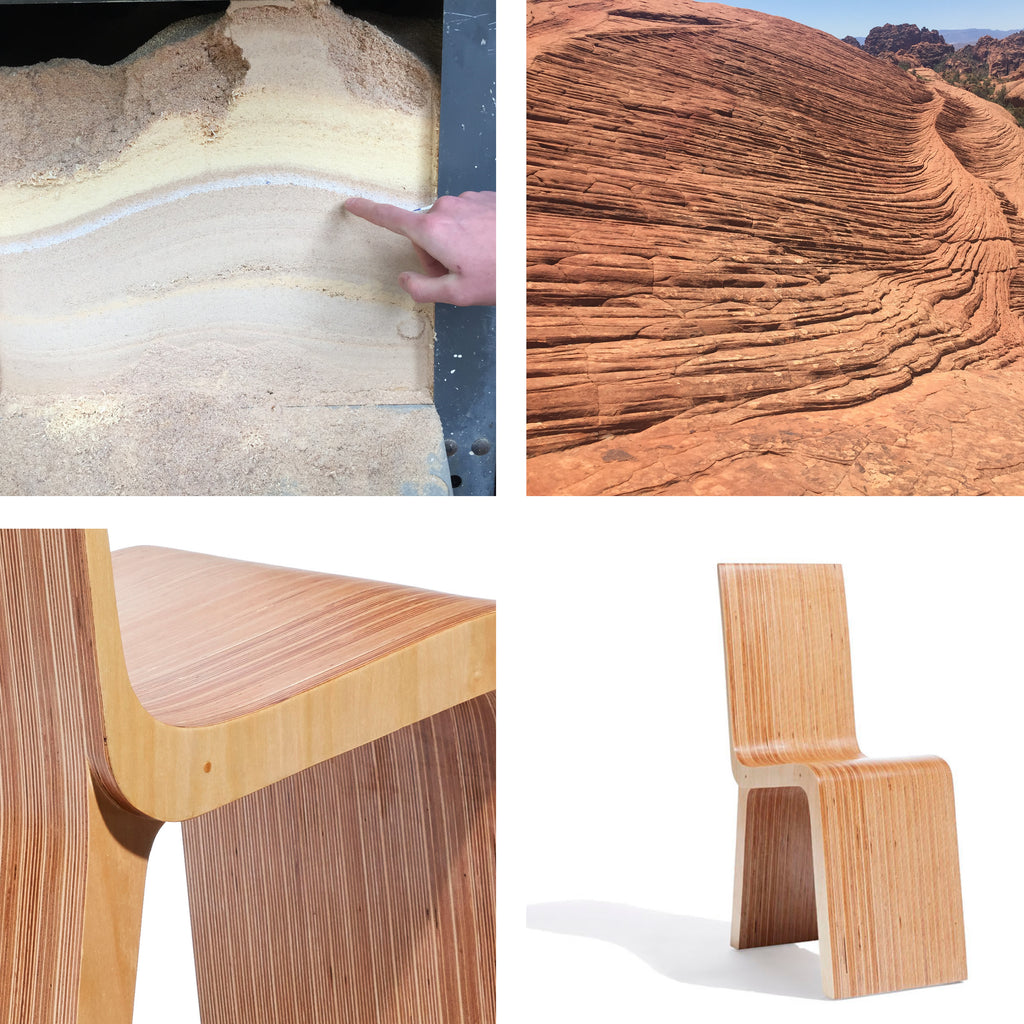 four square image: upper left shows the various layers of sawdust in a table saw. Upper right shows the compounded layers of a rock formation in southern Utah, Lower left shows the compounded layers of the Strata Chair. Lower right shows a modern chair