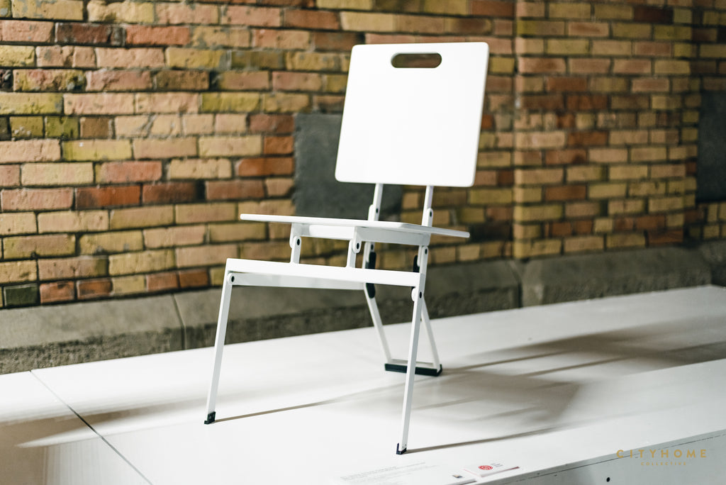 Modern folding chair at design exhibit