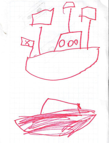 Image of a sailboat design sketch drawn by my son