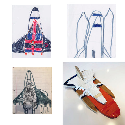 Image of sketches and the final construction for the space shuttle toy I helped my son build