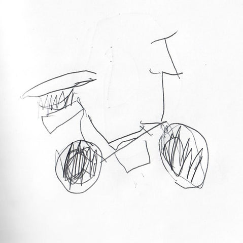 Image of the sketch my son drew for the motorcycle toy he wanted to build