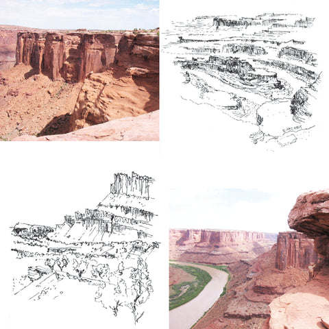 image showing two photographs and two pen sketches by Eric Jacoby of the redrock landscapes of Southern Utah