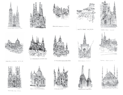 Multiple Architectural Travel Sketches drawn by Eric Jacoby