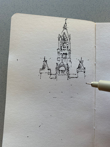 Image of an unfinished sketch by Eric Jacoby of the Salt Lake City and County Building