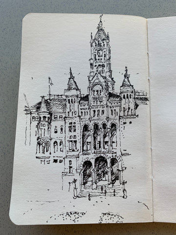 Image of a nearly complete sketch by Eric Jacoby of the Salt Lake City and County Building