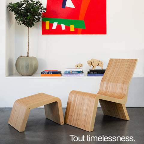 wood lounge chair in modern home
