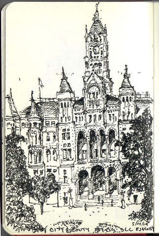 Finished sketch by Eric Jacoby of the Salt Lake City and County Building