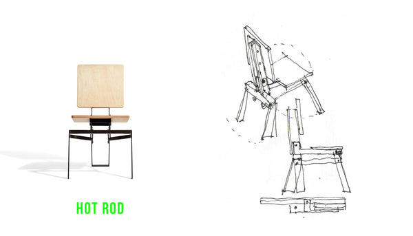 concept sketch and front elevation of Tectonic Folding Chair