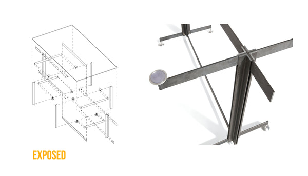 pull apart diagram and detail view of the Tectonic Dining Table