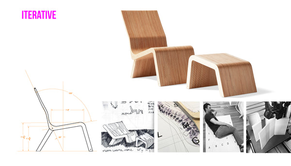 design iterations for the Strata Lounge chair