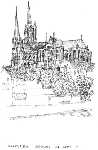 Pen sketch by Eric Jacoby of Chartres Cathedral in France