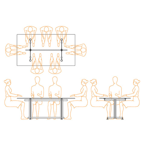 Plan, Section, and Elevation line drawings of the Eric Jacoby Design Tectonic Dining Table illustrating how the table woks well for either six or eight people.