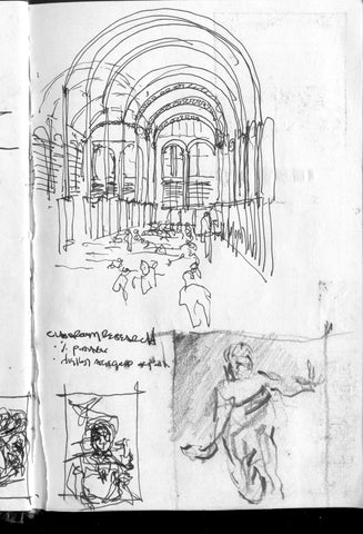 Image of a multi-image, multi-media travel sketches by Eric Jacoby including an interior sketch of St Genevieve library in Paris