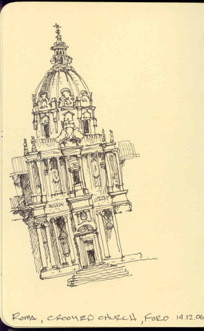 Image of a travel sketch in Rome by Eric Jacoby where the building appears crooked because of an accidentally distorted drawing