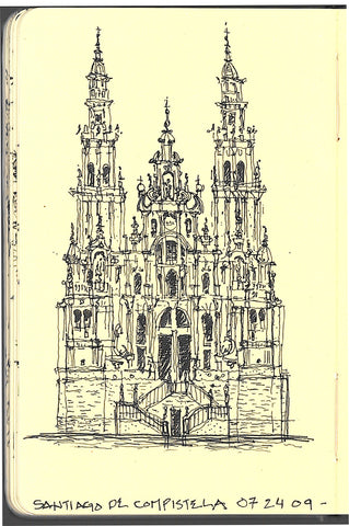 Travel sketch of the main facade of the cathedral in Santiago de Compestela, Spain