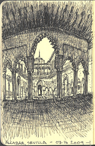 Travel sketch by Eric Jacoby of the inner courtyard of the Alcazar in Sevilla, Spain
