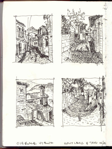 Image of four small, quick sketches by Eric Jacoby of street scenes in Cirence, Turkey. The sketches are composed on a single on a single sketchbook page