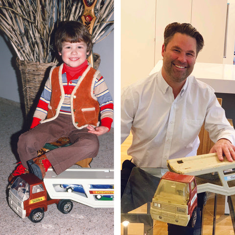 Eric Jacoby as 4 year old and Eric Jacoby as 42 year old with the same toy truck