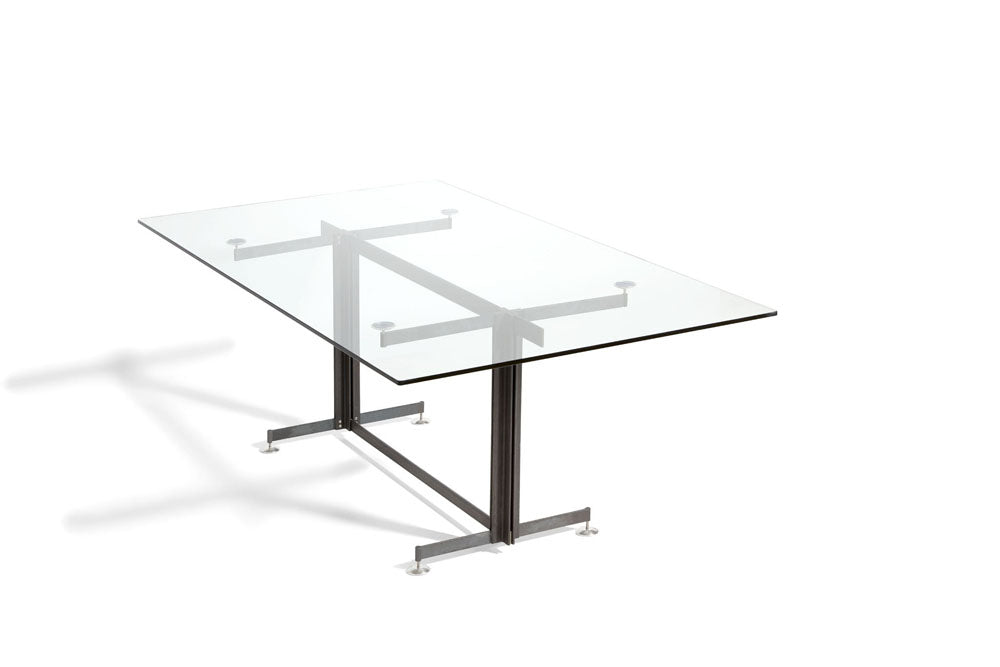 steel and glass table