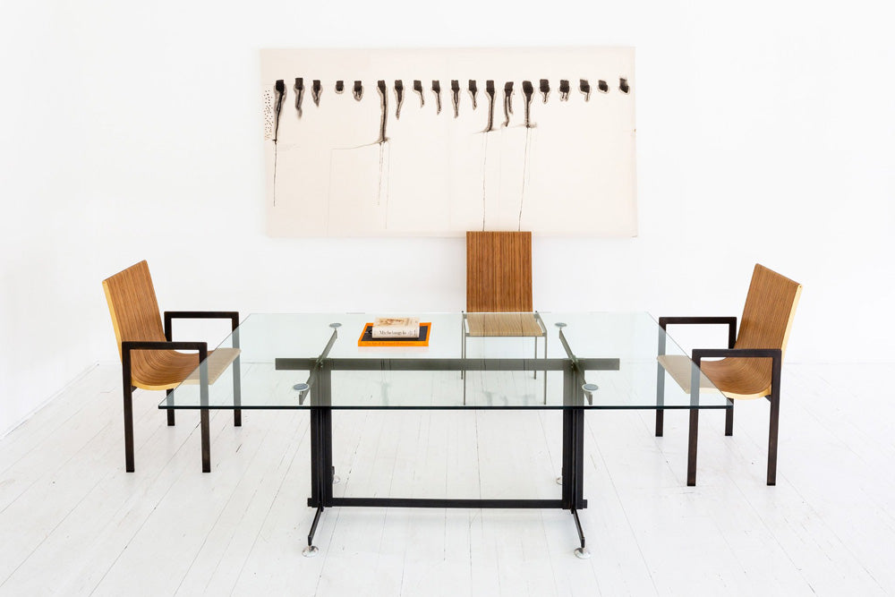 minimal glass dining table